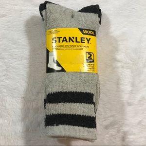 NEW STANLEY mens wool cushioned work socks 2 pack